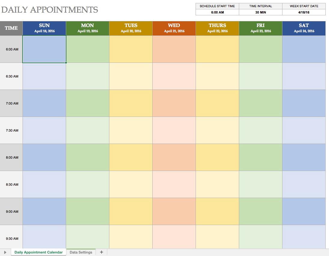 Scheduling Calendar Template