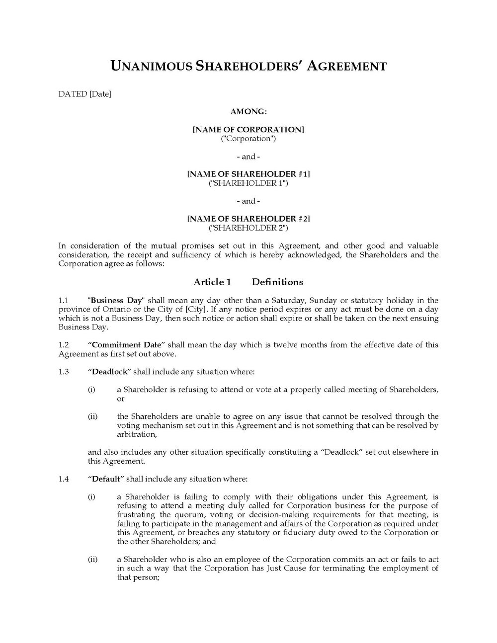Shareholders Agreement Template Hong Kong