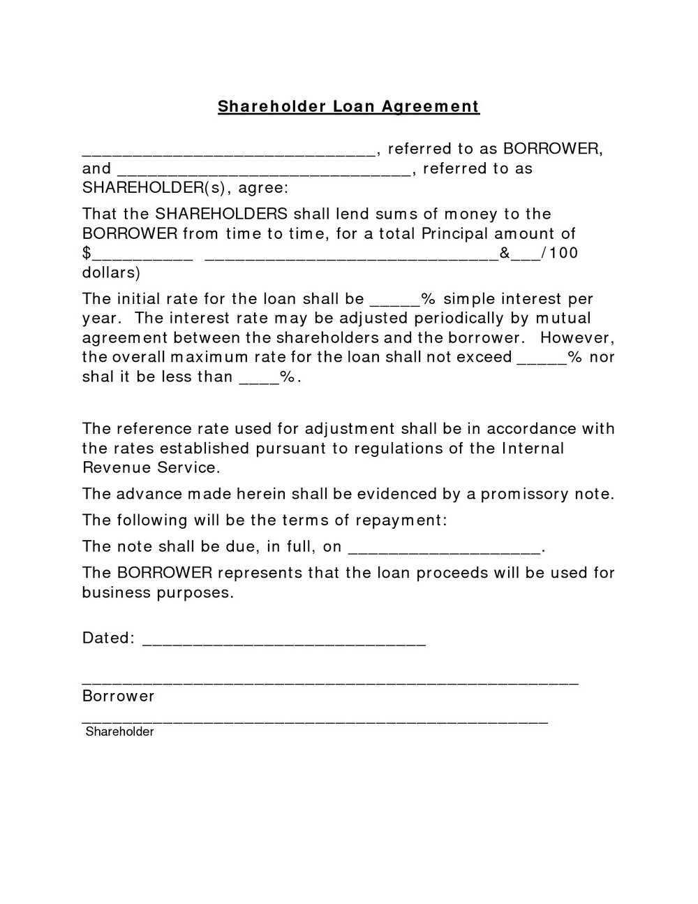 Simple Loan Agreement Template South Africa