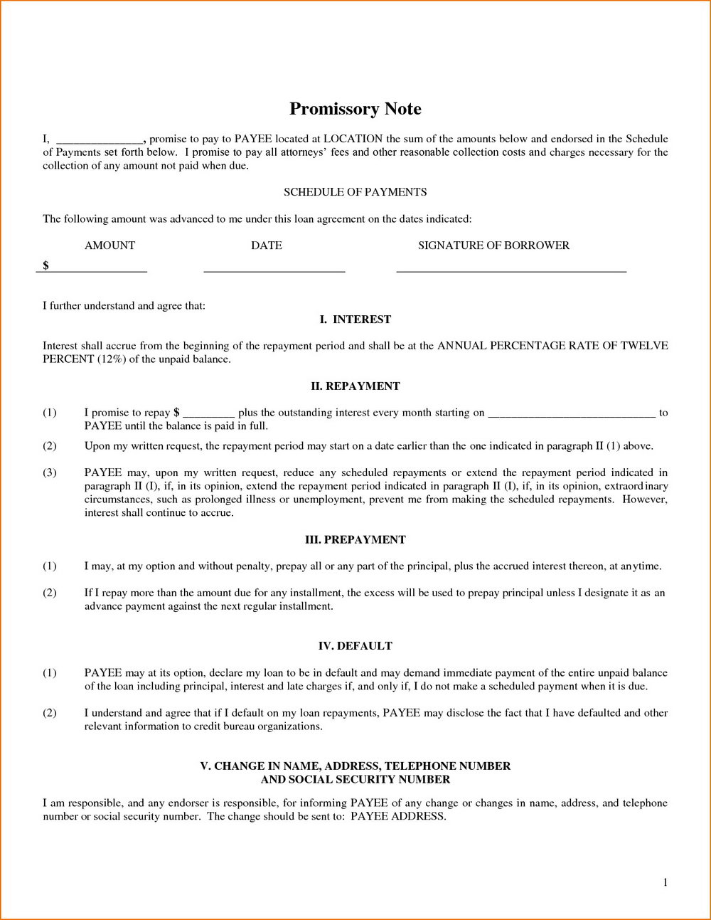 Simple Promissory Note Template Pdf