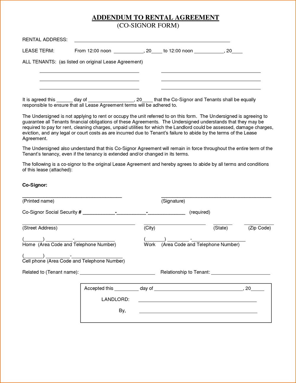 Simple Renters Agreement Template
