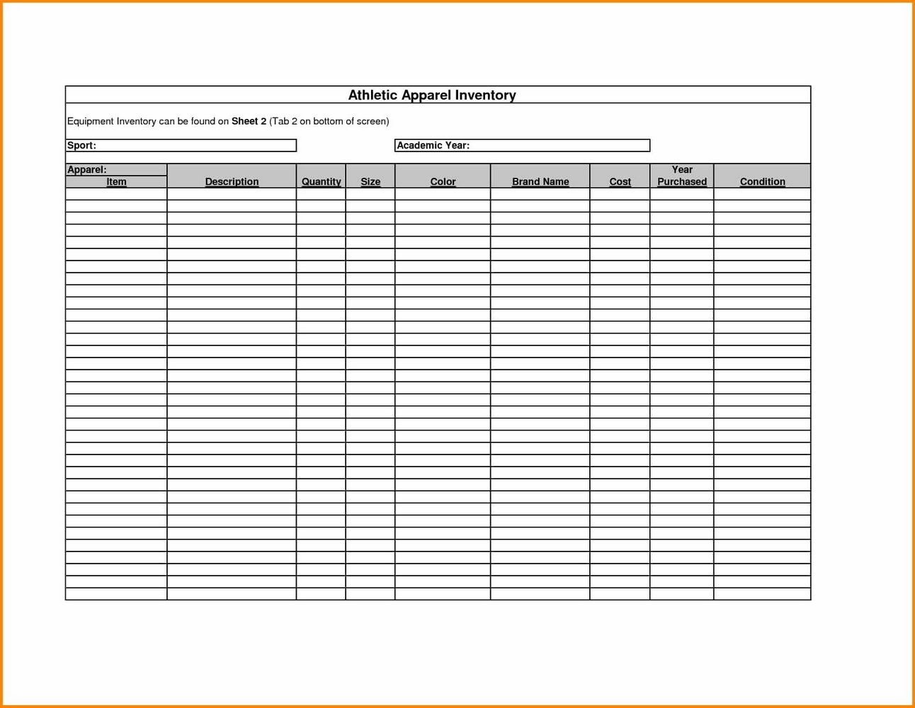Stock Ledger Template Word