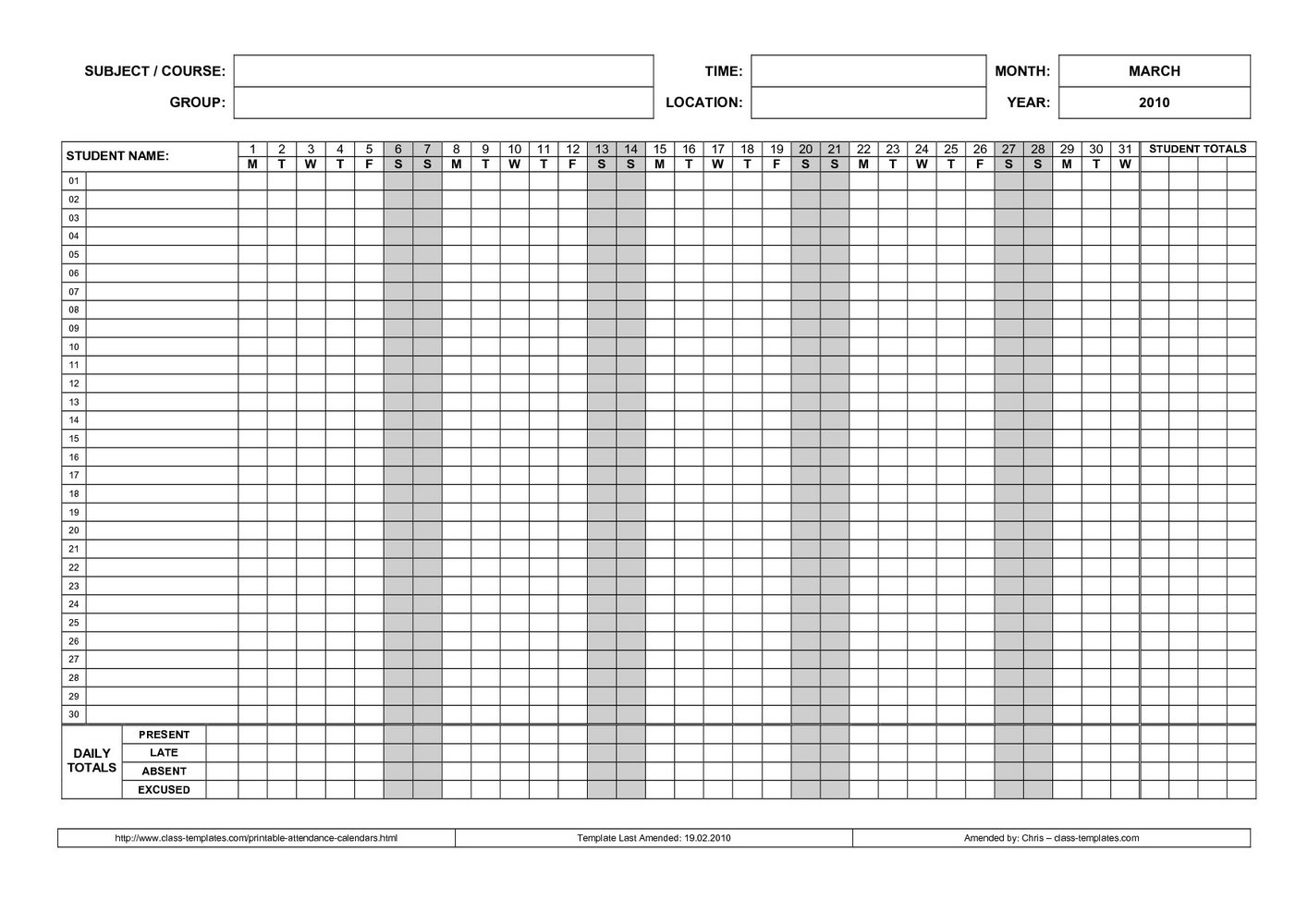 Student Attendance Record Template