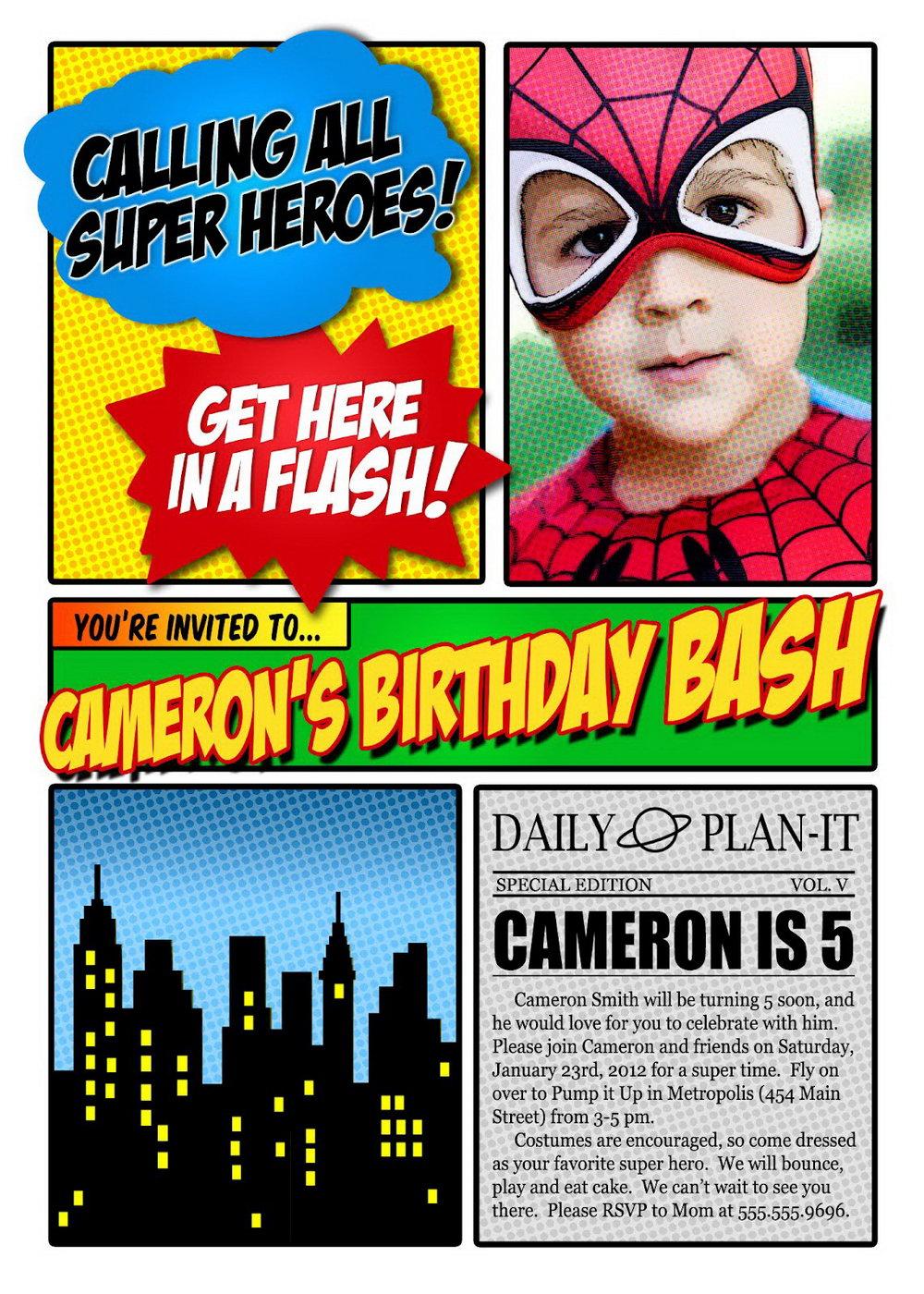 Superhero Invitation Template Free