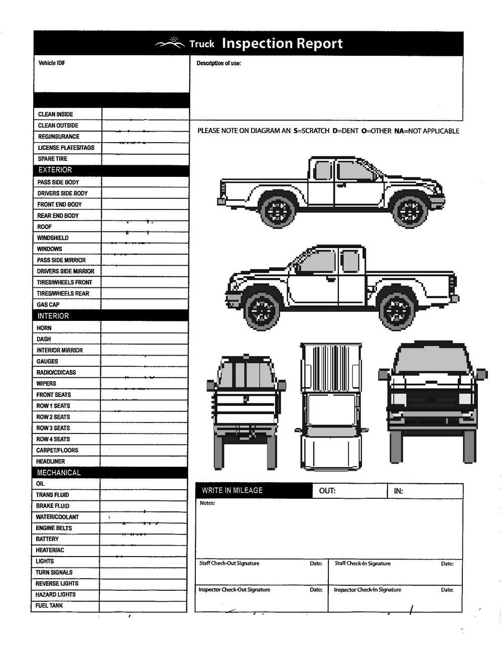 Truck Inspection Checklist Template