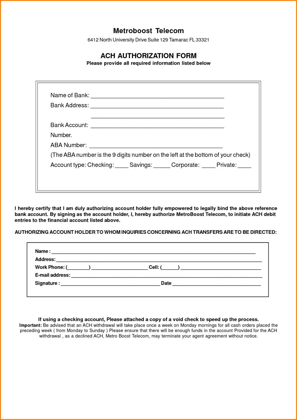 Vendor Ach Authorization Form Template