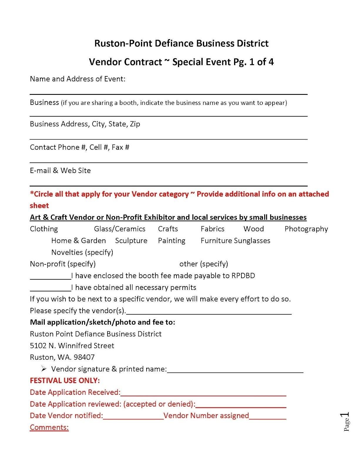 Vendor Event Application Template