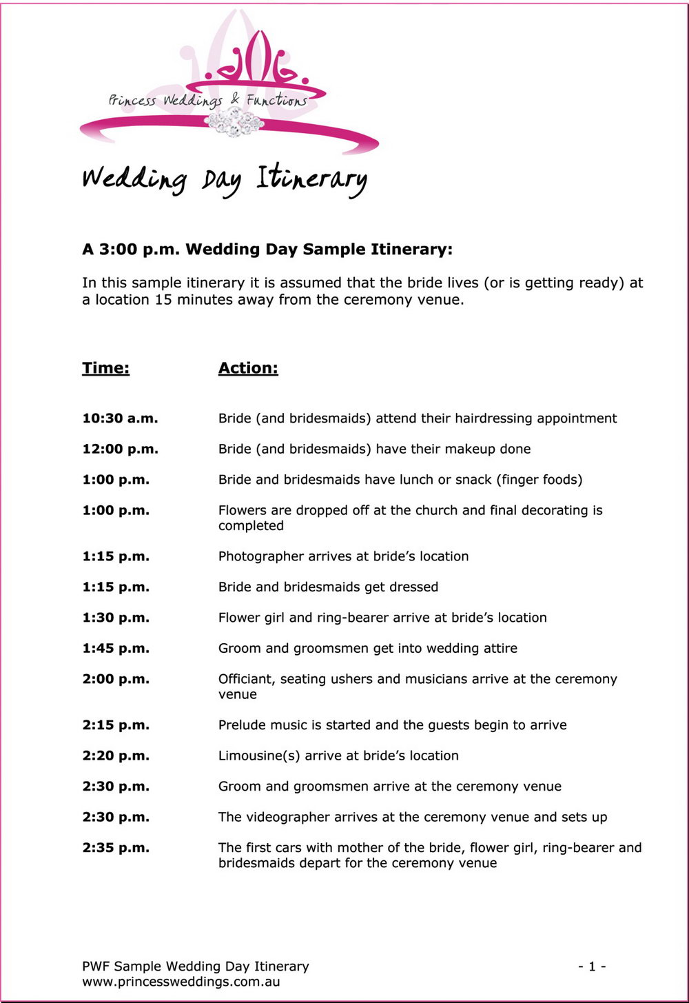 Wedding Agenda Template Free