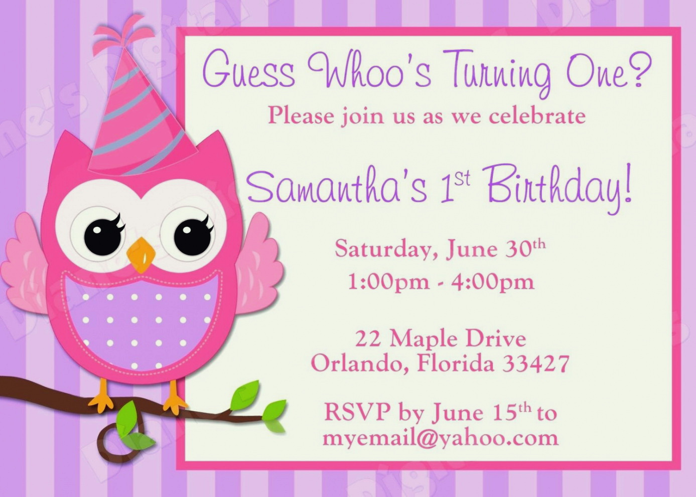8th Birthday Invitation Templates Free