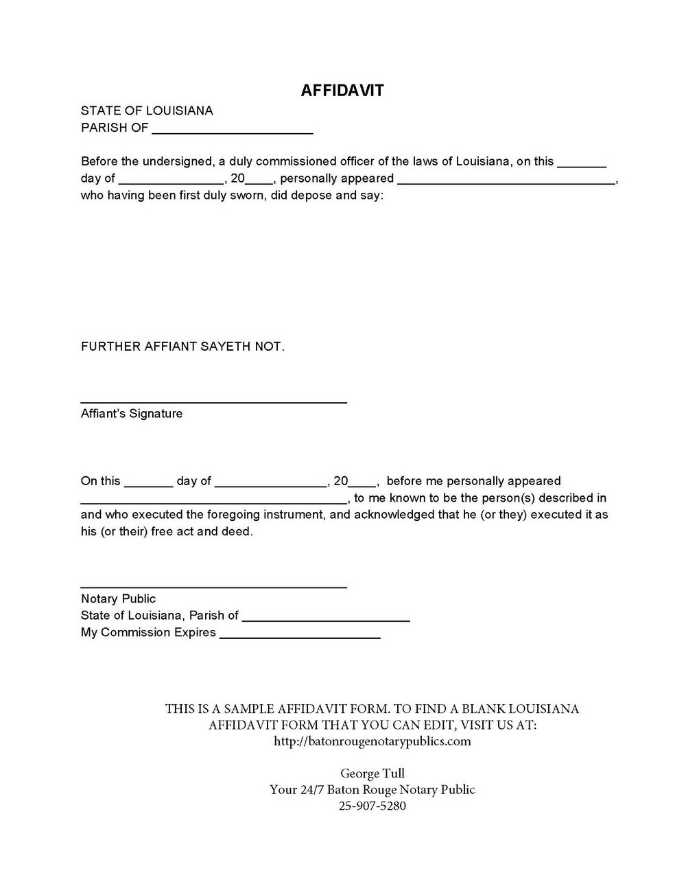 Affidavit Template Florida