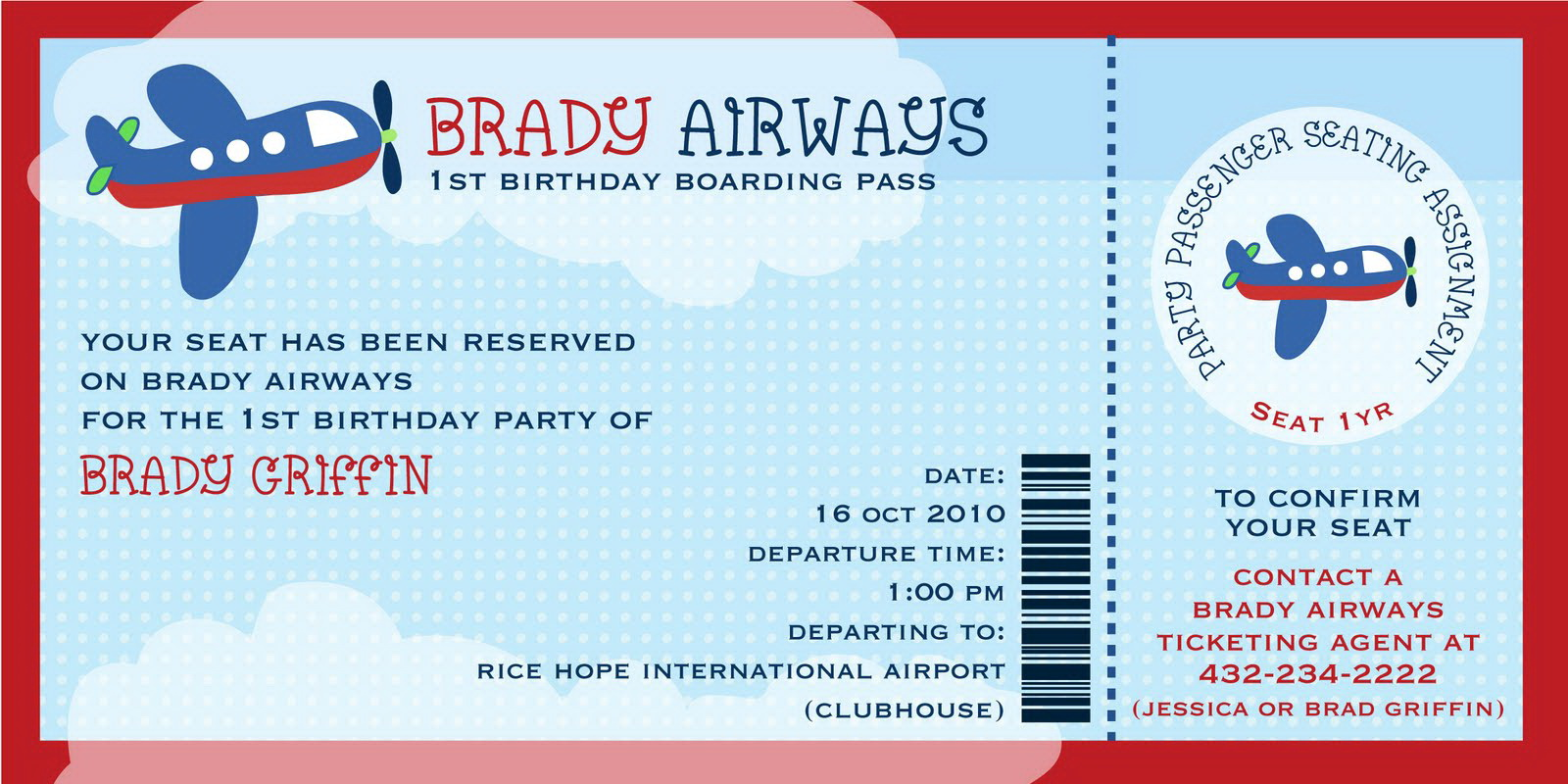 Airplane Invitation Template