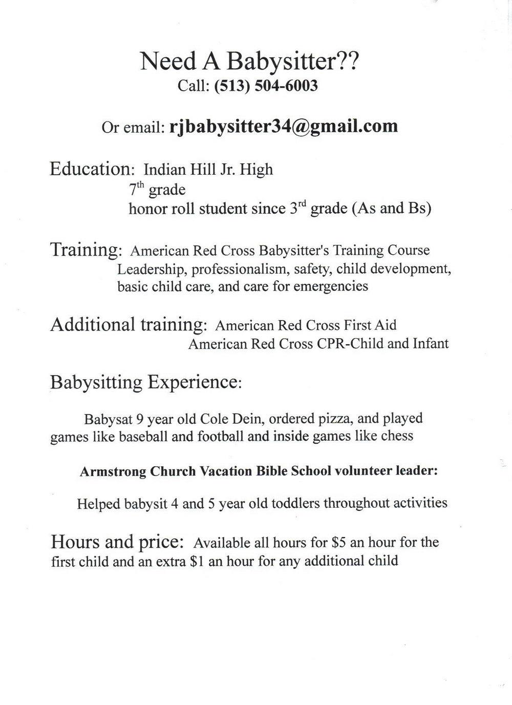 Babysitting Resume Templates