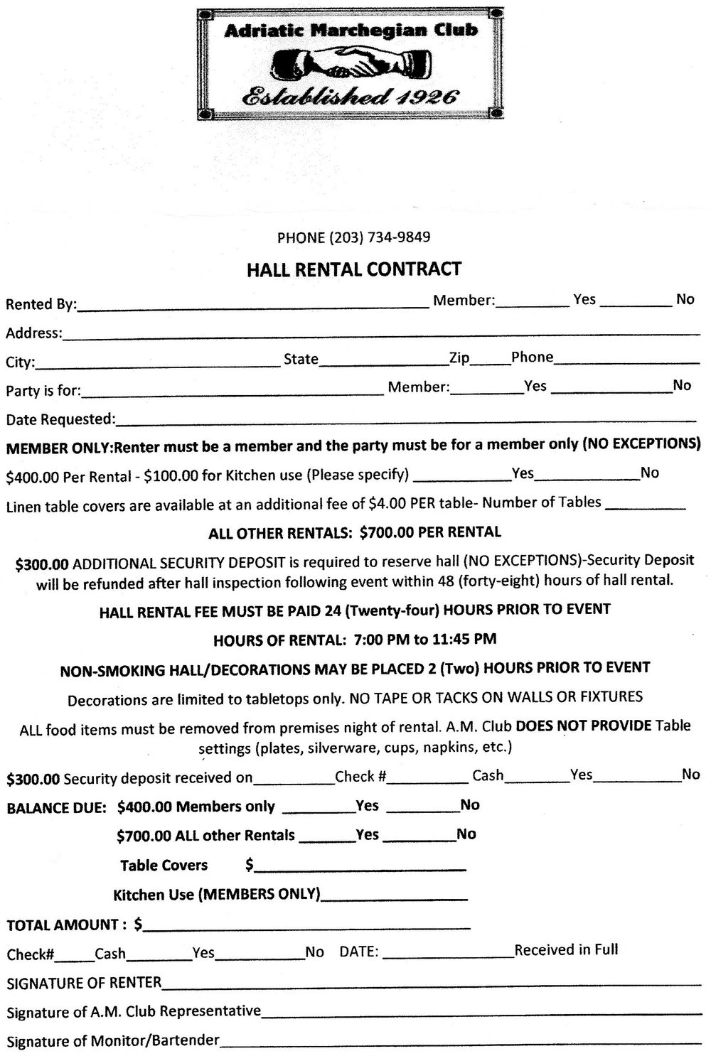 Banquet Hall Contract Template