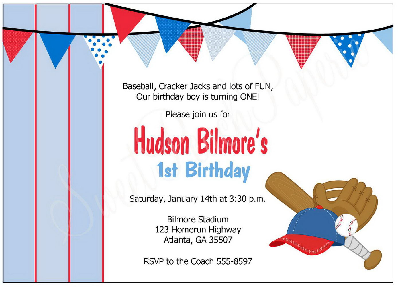 Baseball Themed Invitation Template Free