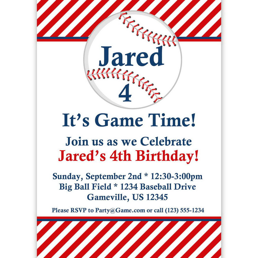 Baseball Themed Invitation Template