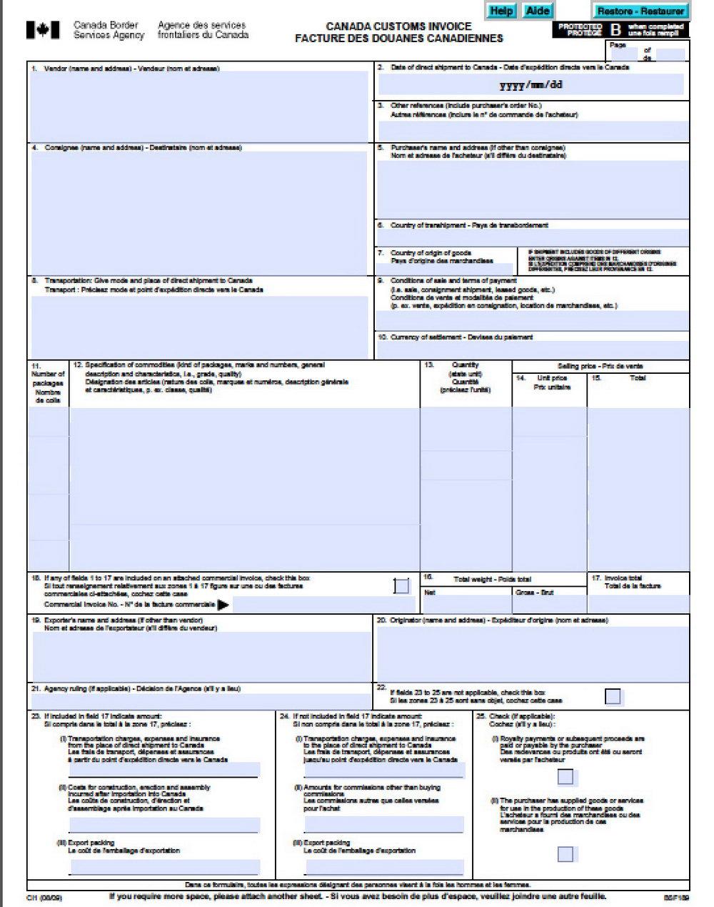 Canada Customs Invoice Template