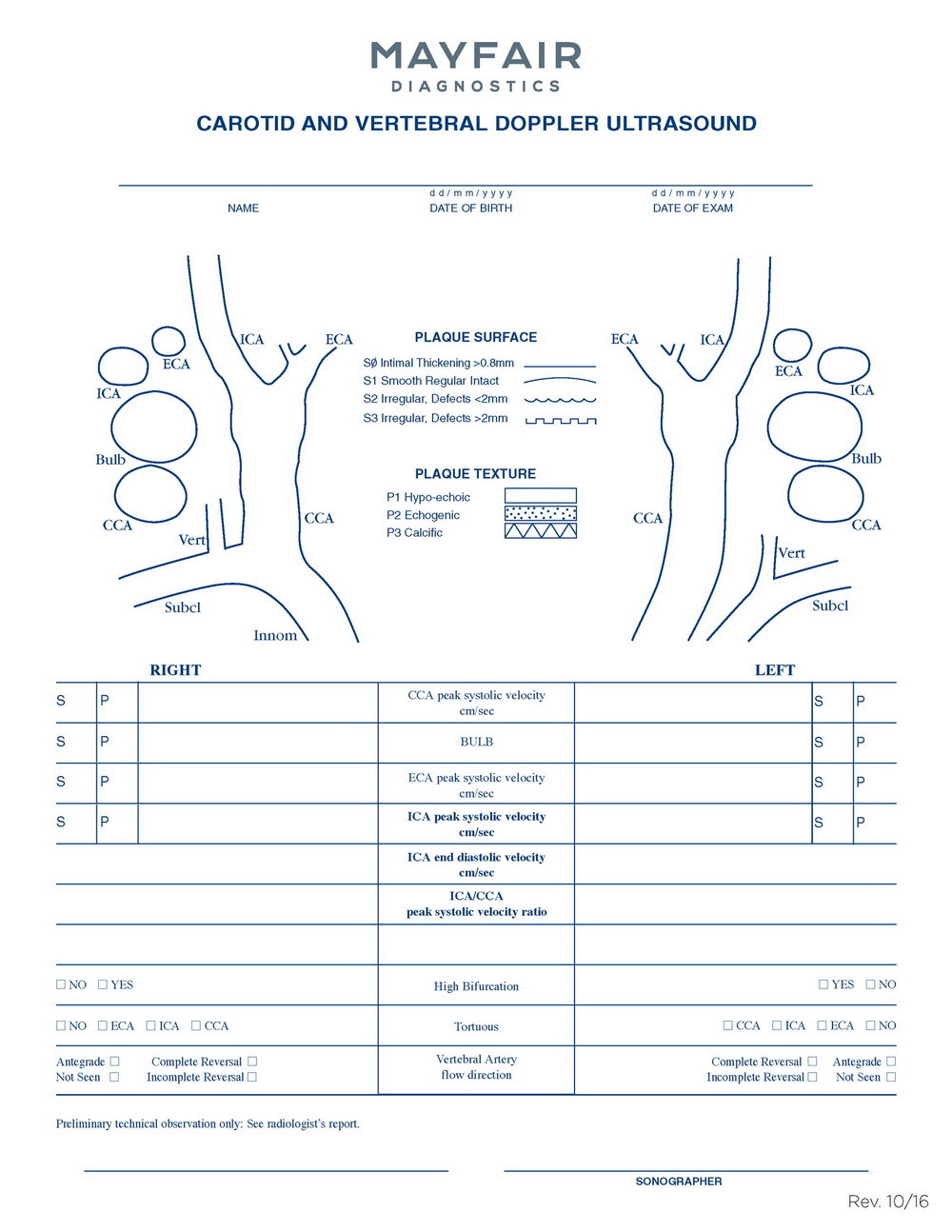 Carotid Ultrasound Report Template
