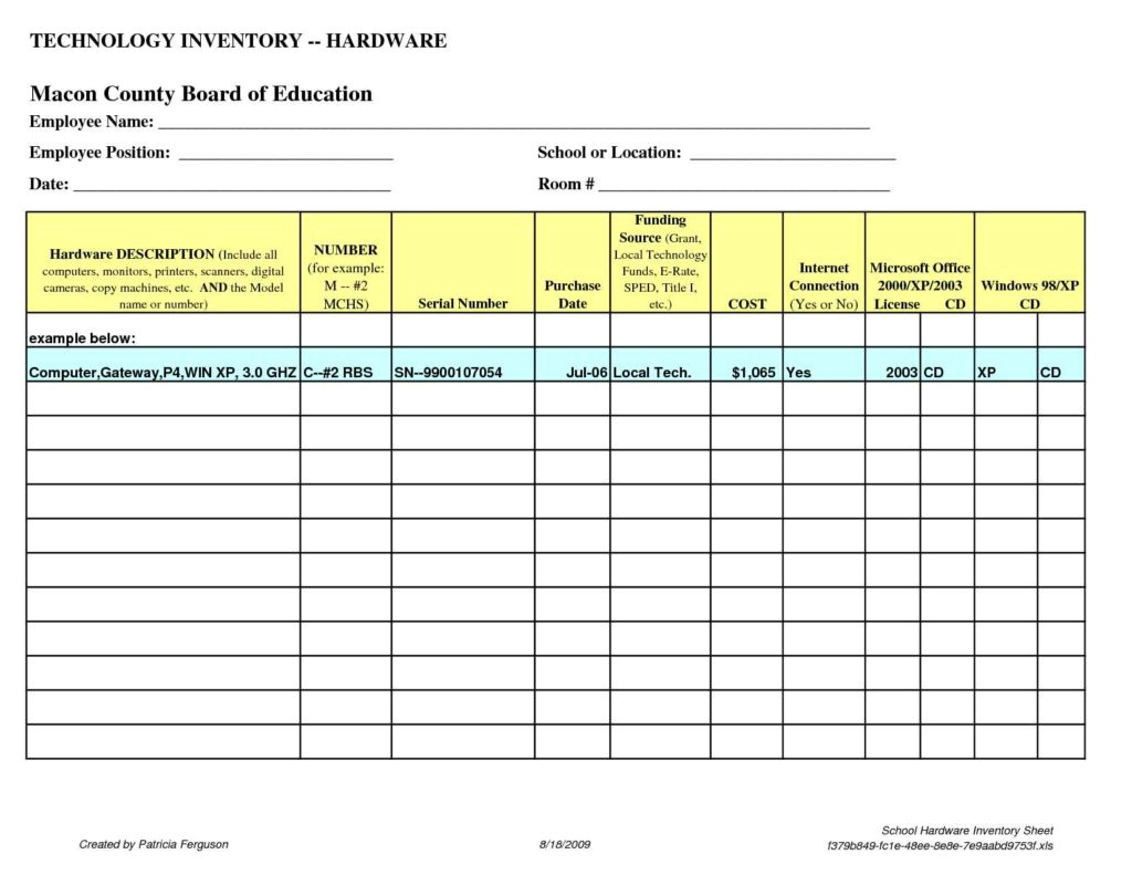 Chemical Inventory List Template Excel