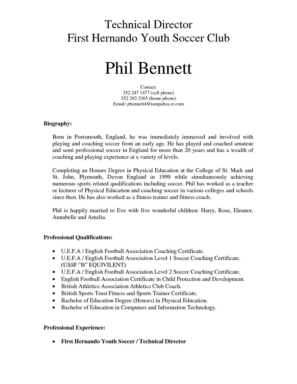 Coach Resume Template