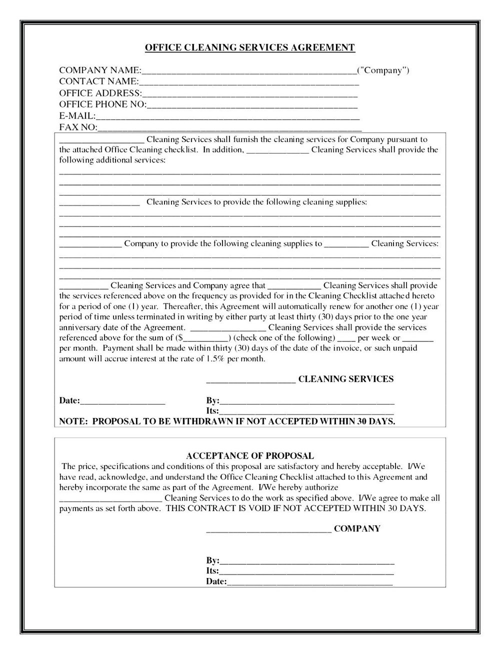 Contract For Janitorial Services Template