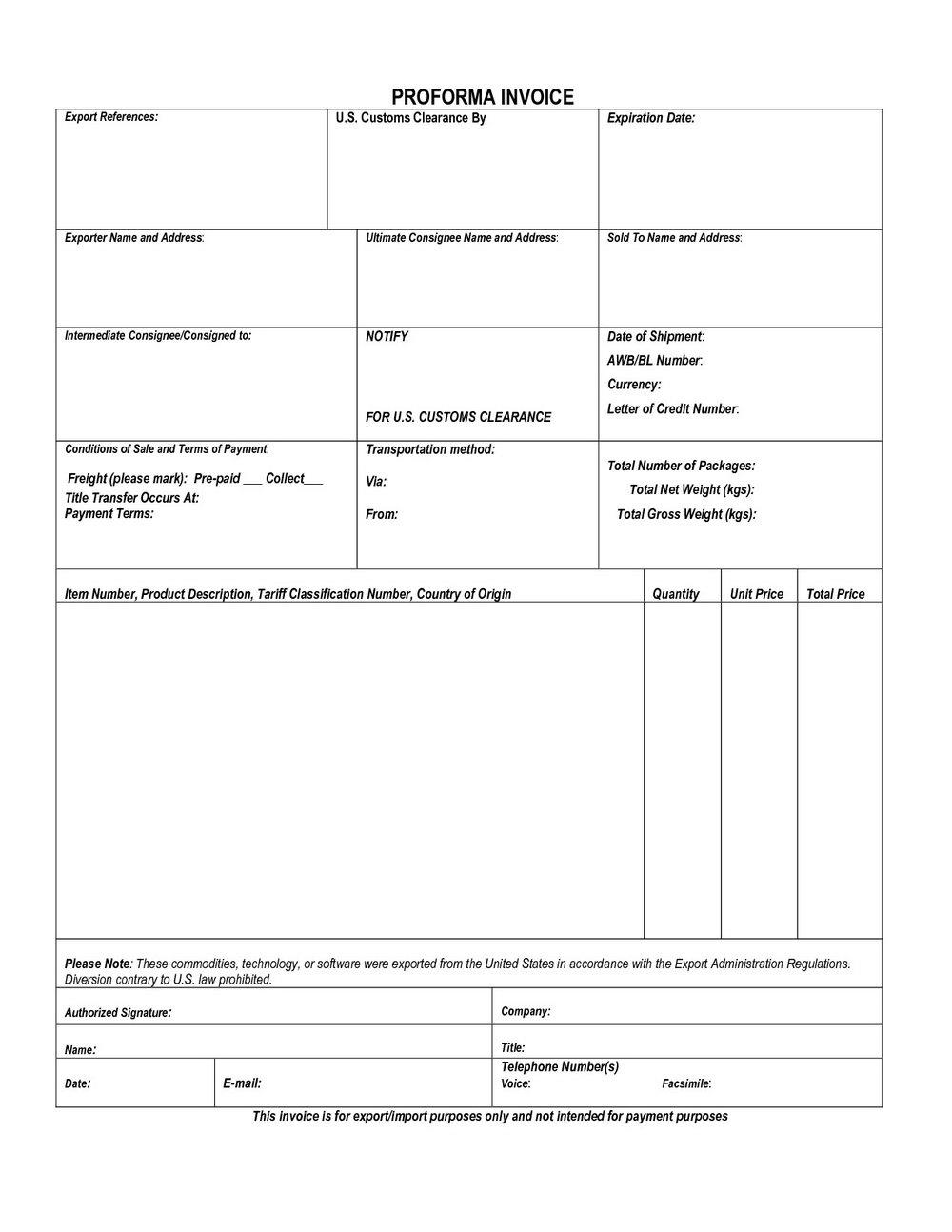 Customs Invoice Template Word