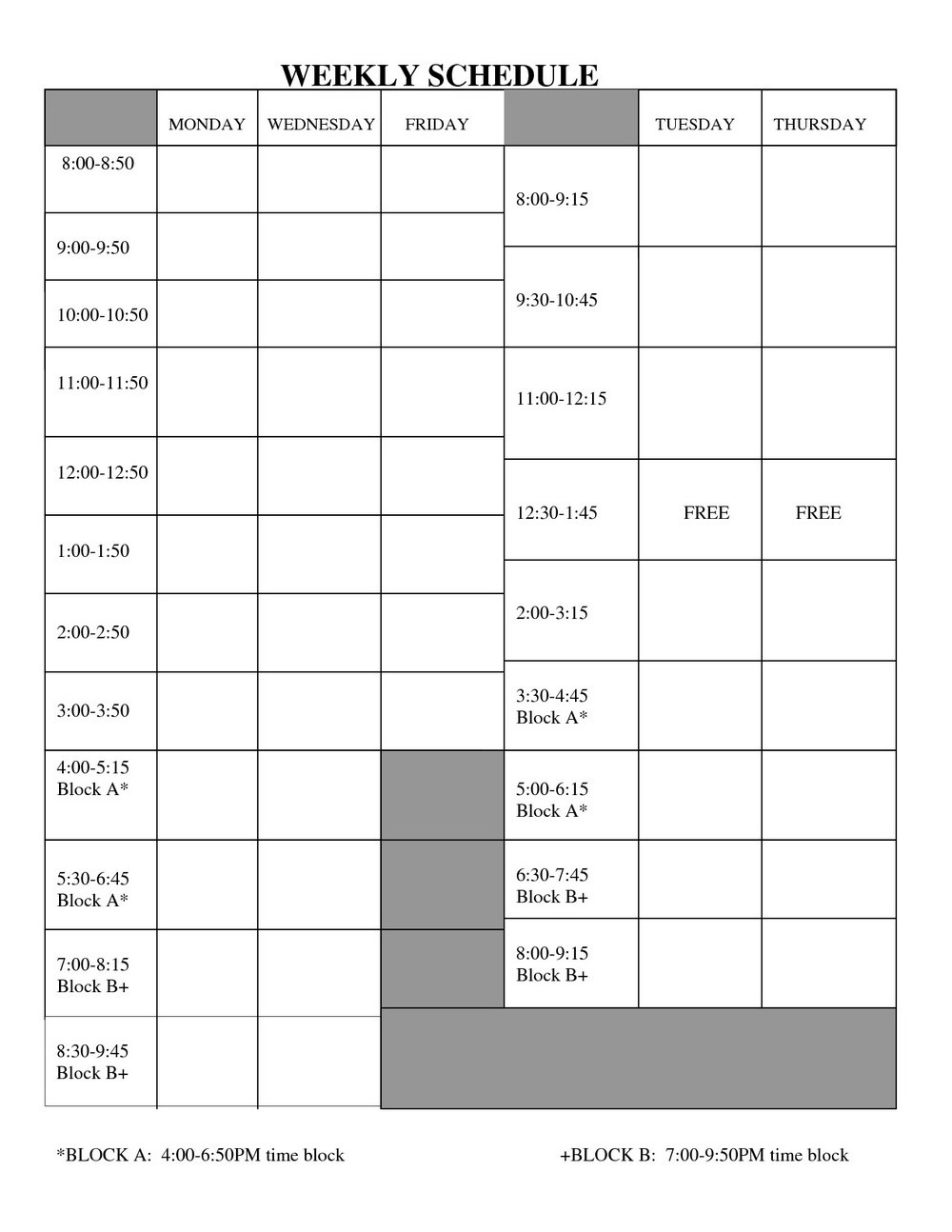 Daily Staffing Schedule Template