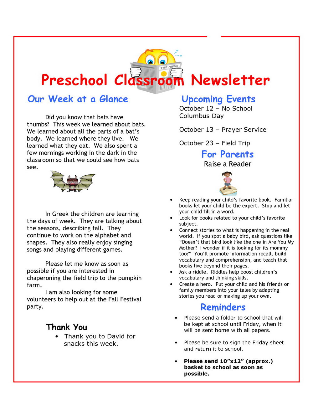 Daycare Monthly Newsletter Templates