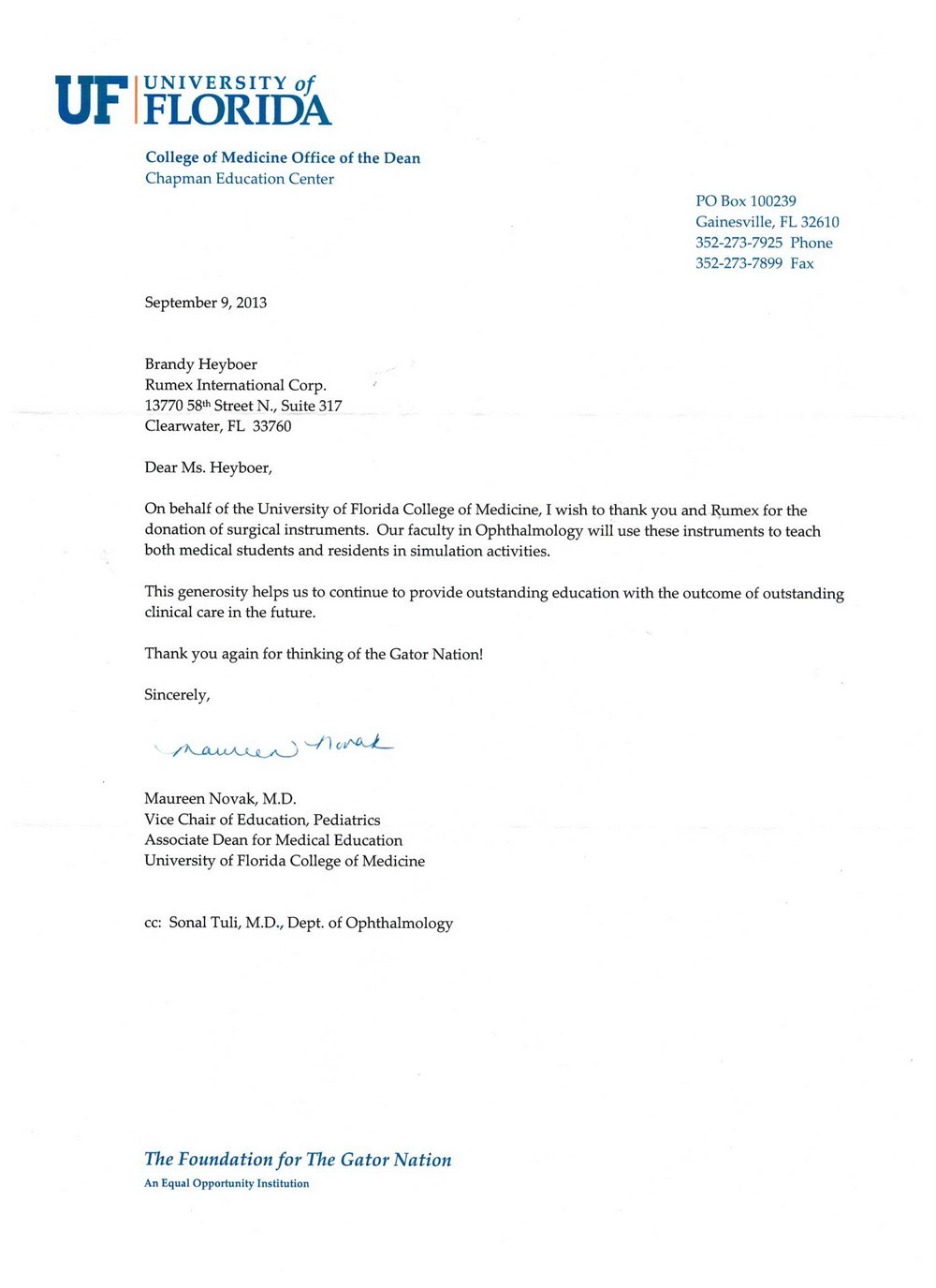 Donation Letter Thank You Template