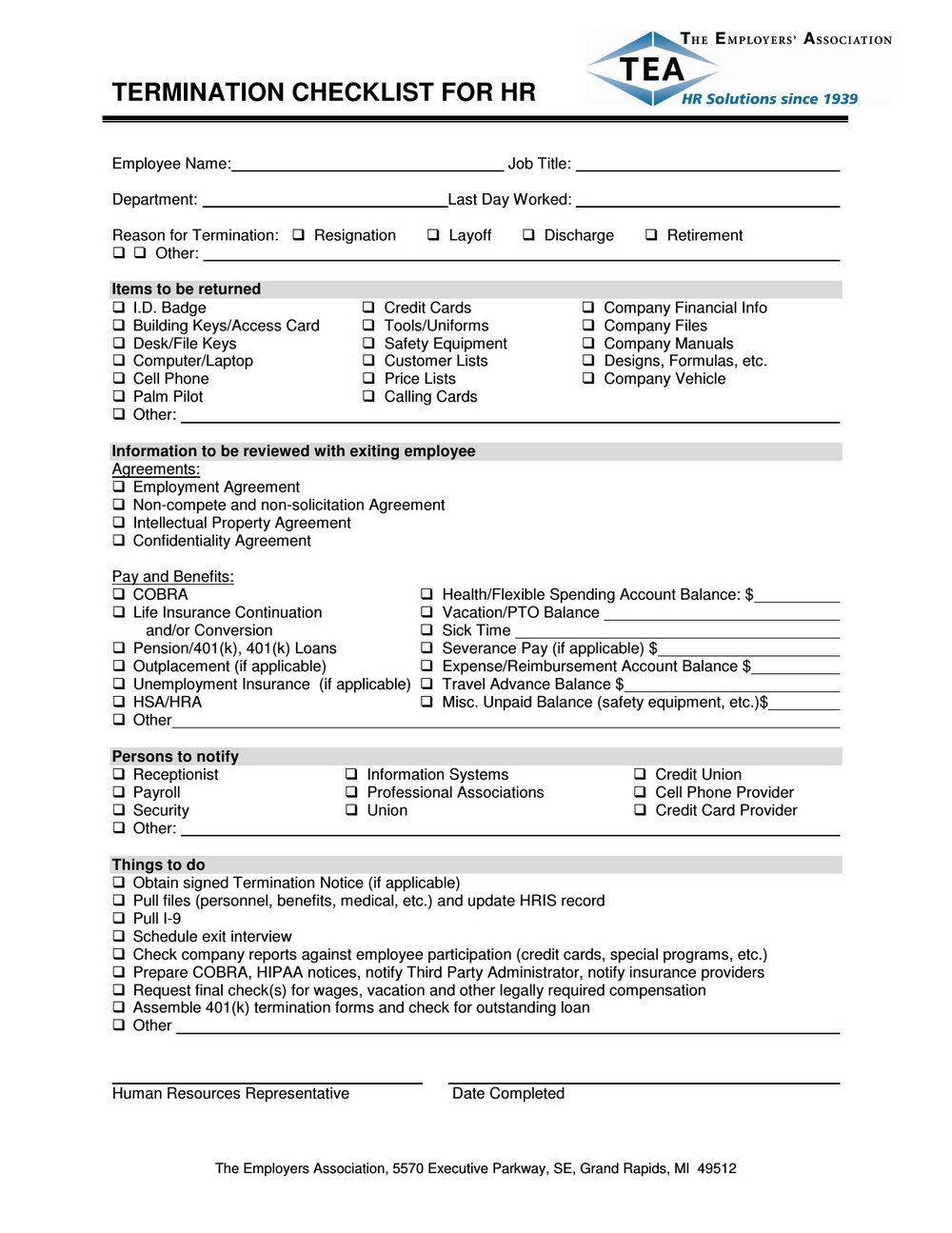 Employee Termination Template Excel