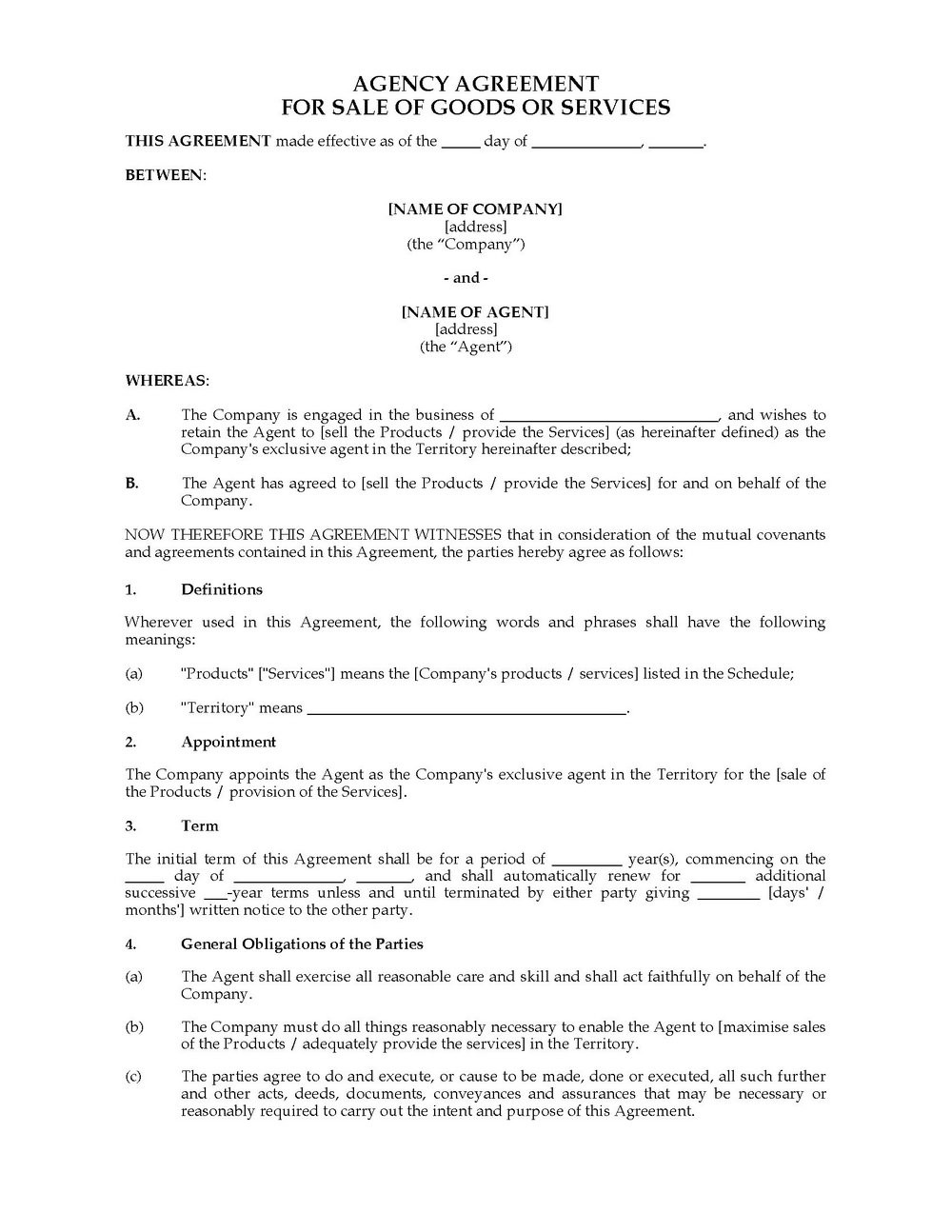 Exclusive Supplier Agreement Template