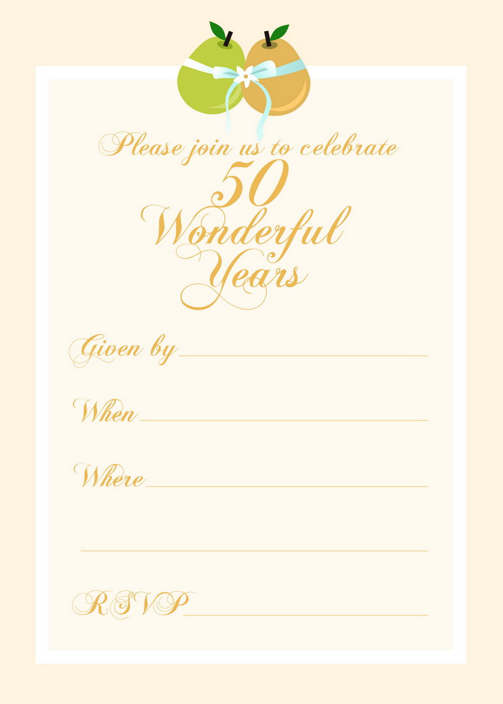 Free 50th Anniversary Invitation Templates For Word