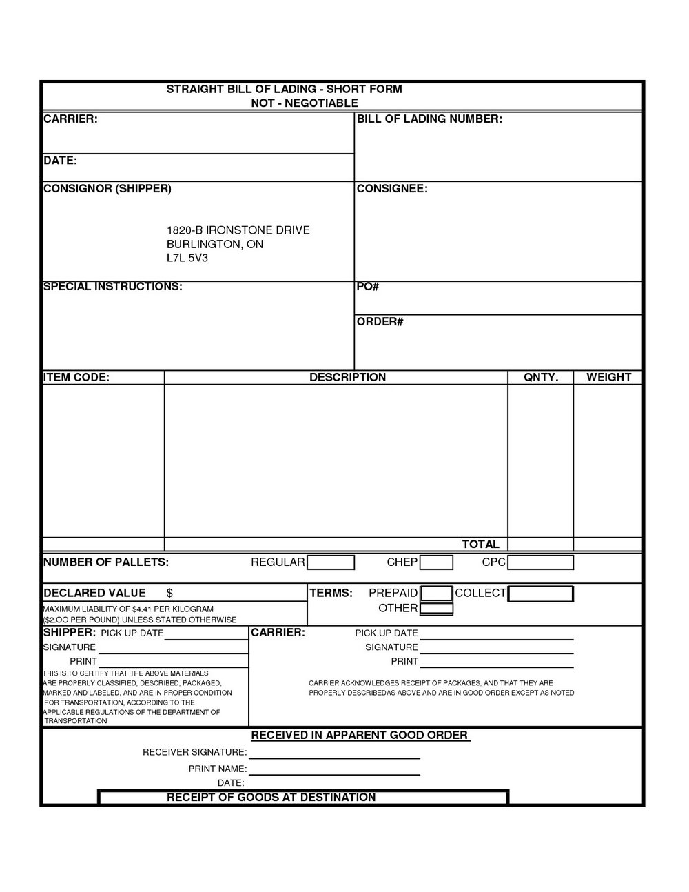 Free Bill Of Lading Template
