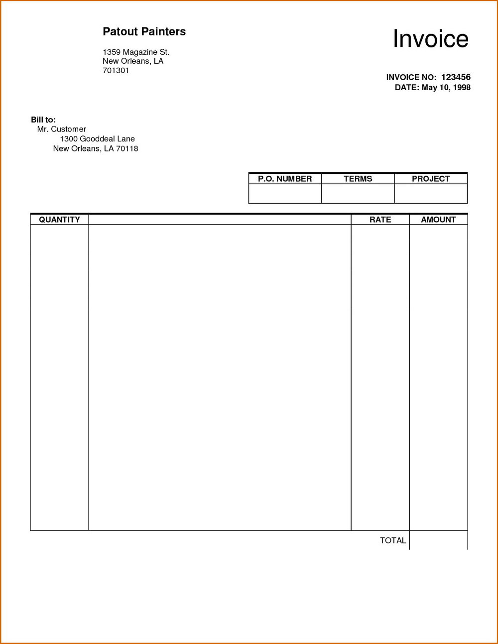 Free Blank Invoice Template Printable