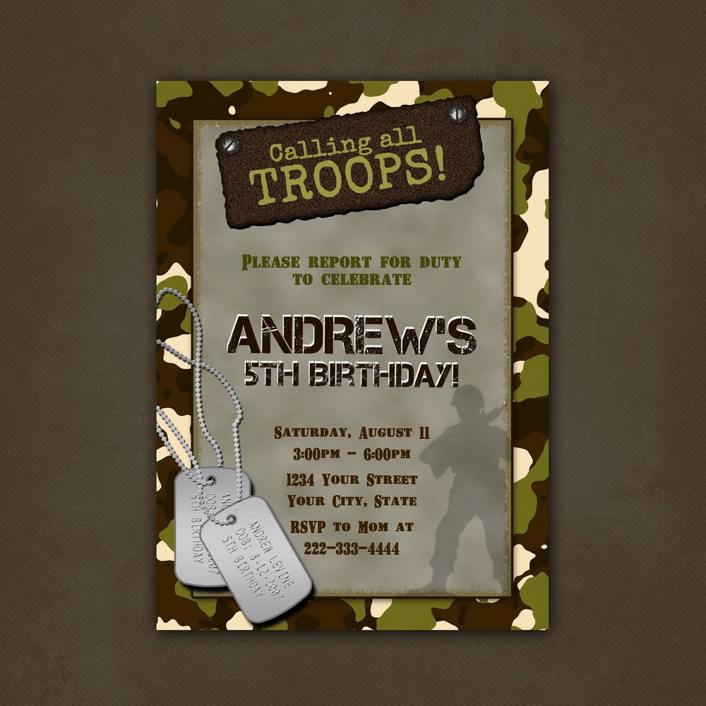 Free Camouflage Party Invitation Template
