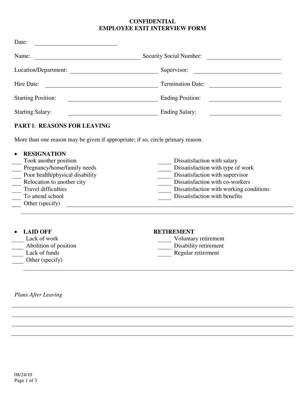 Free Employee Exit Interview Template