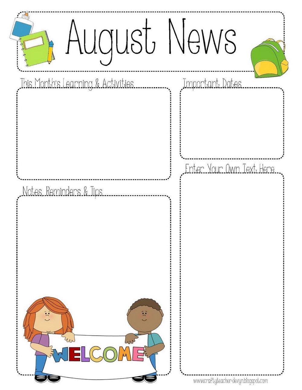 Free Preschool Monthly Newsletter Template