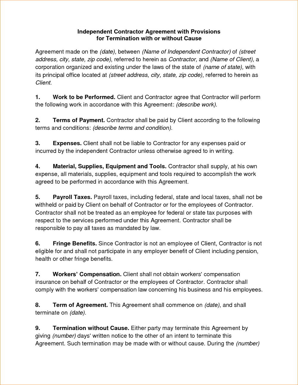 Independent Contractor Contract Template Australia