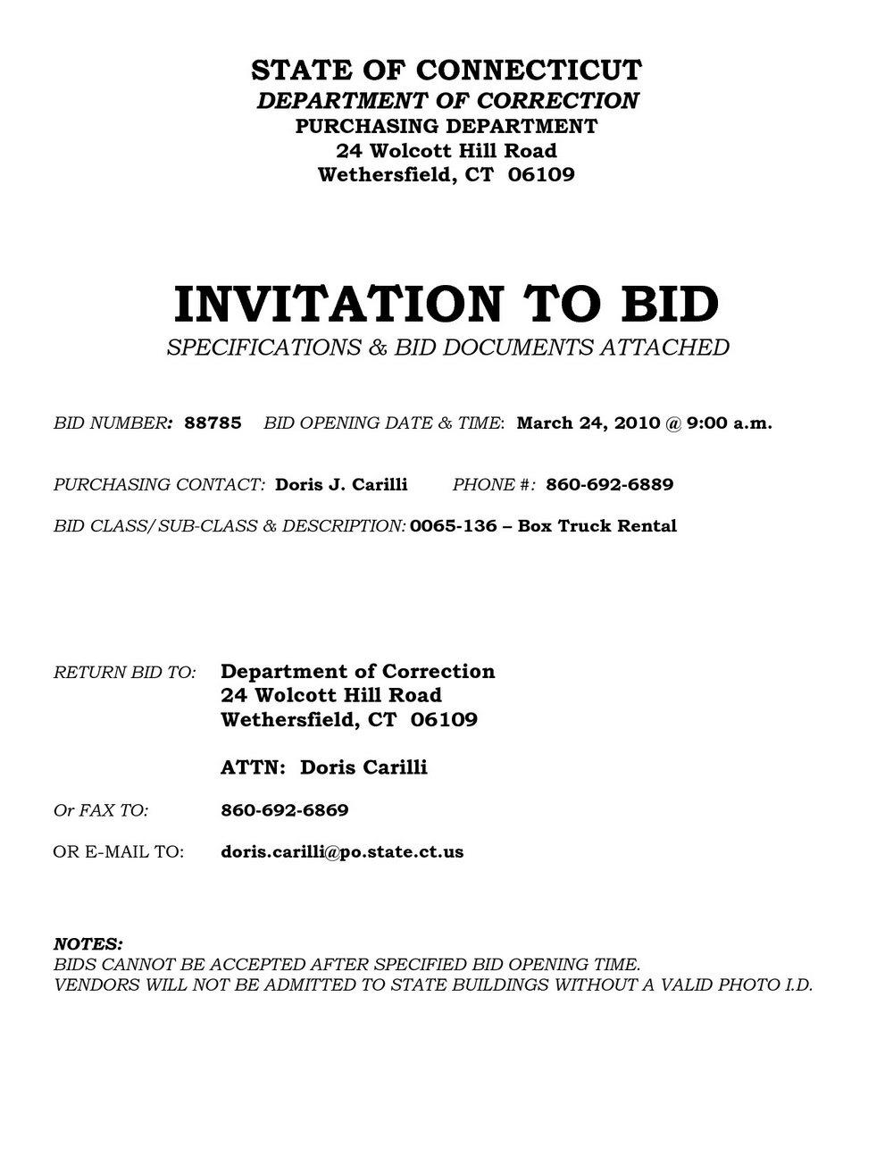 Invitation To Bid Template Construction