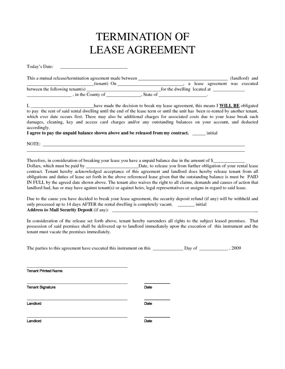 Lease Termination Letter Template Free