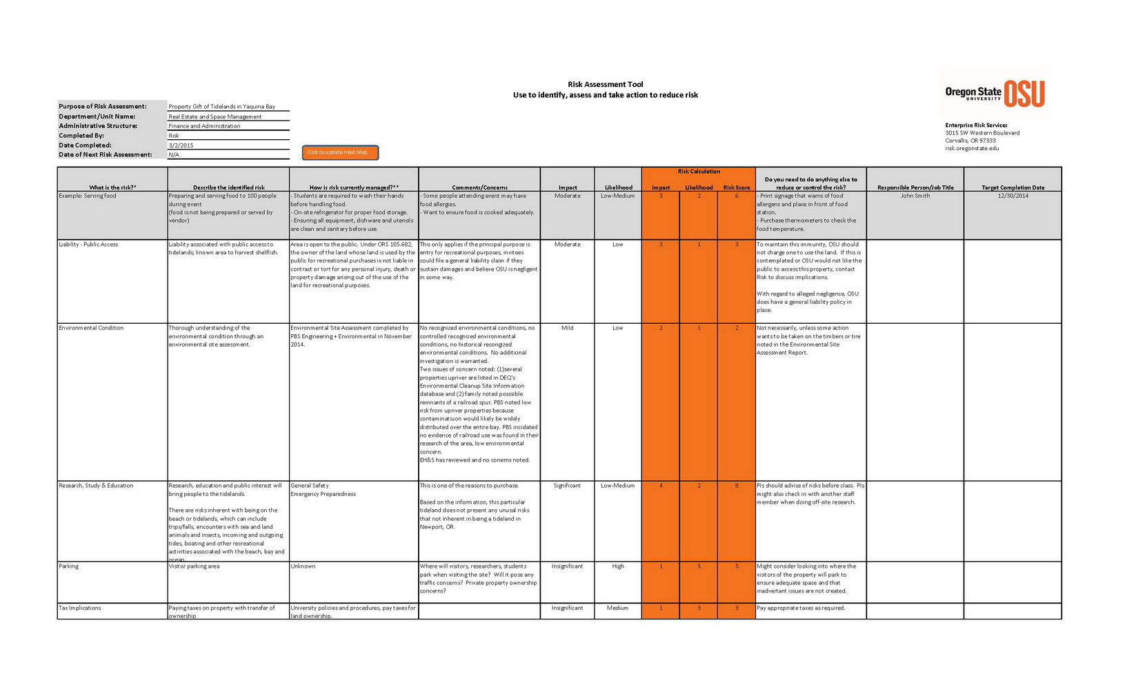 Manufacturing Risk Assessment Template Excel