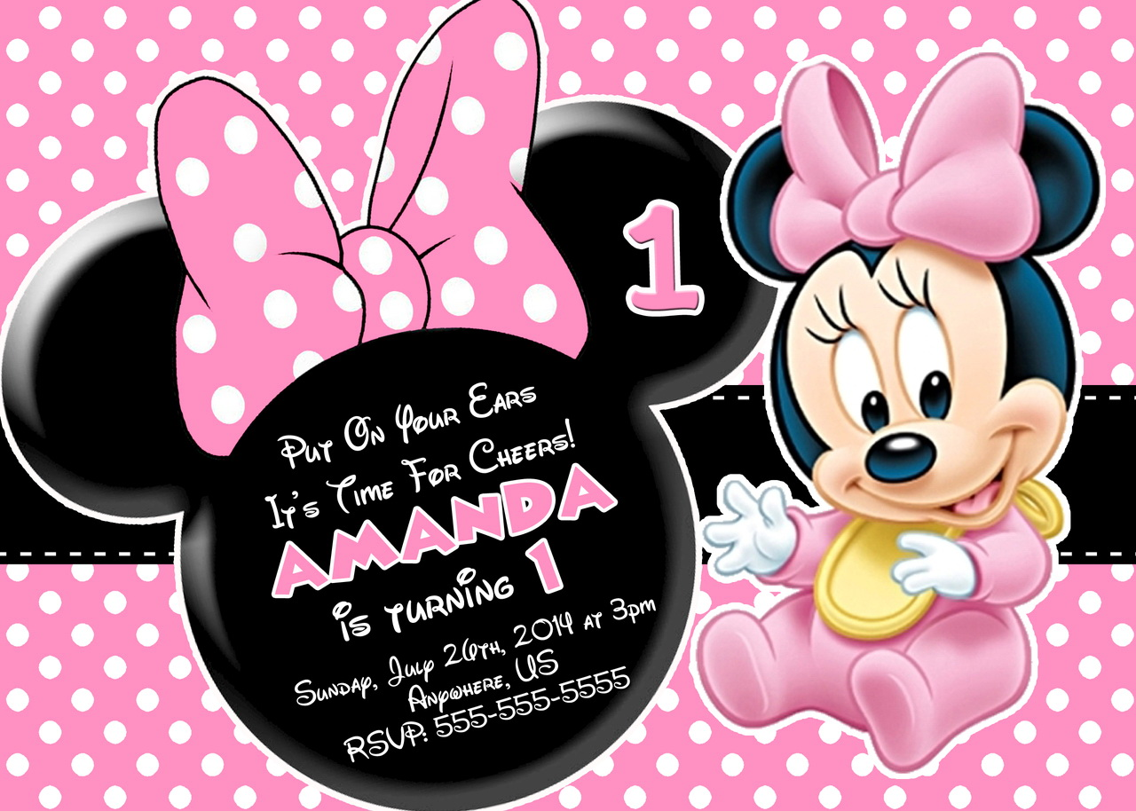 Minnie Mouse 1st Birthday Invitations Templates Free