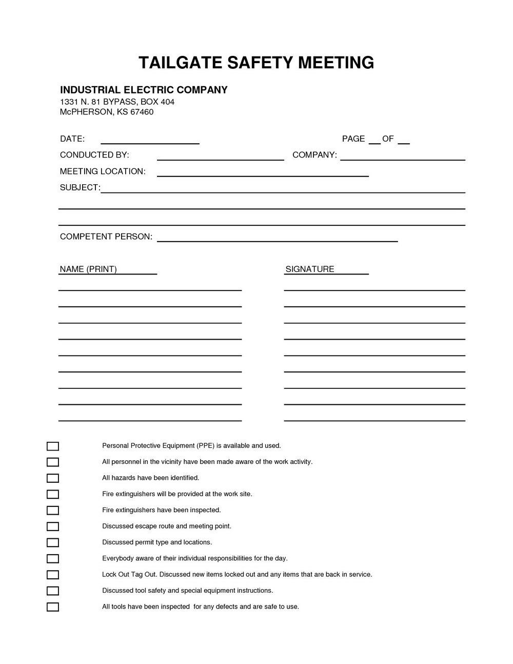Monthly Safety Meeting Template