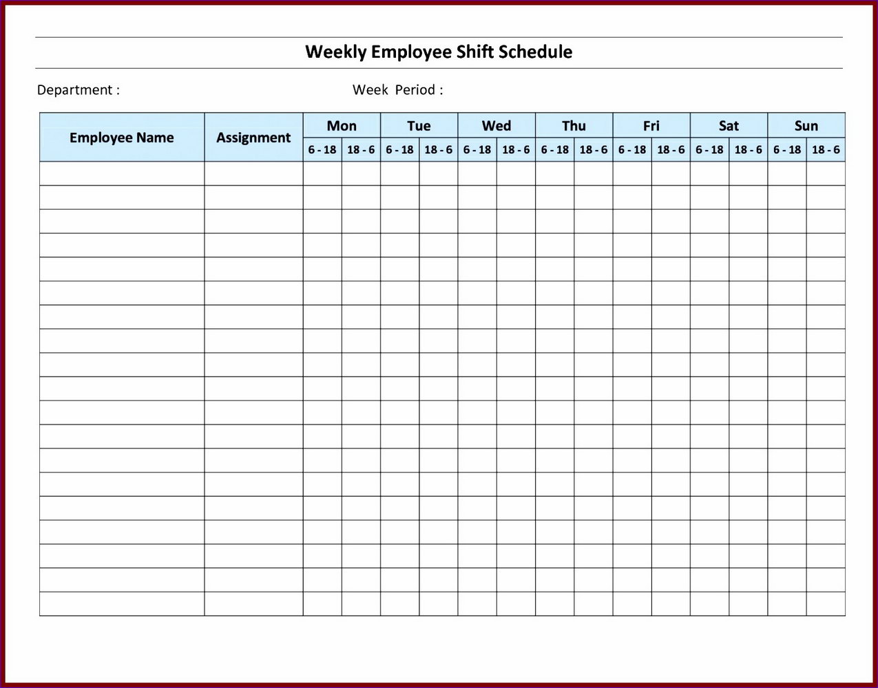 Monthly Staffing Schedule Template