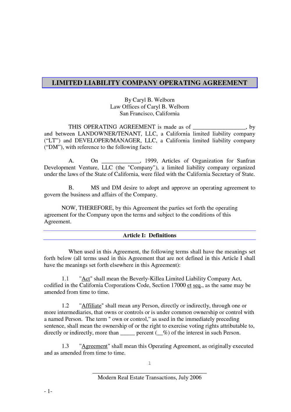 Operating Agreement Template For Llc Templates Mji1nzk