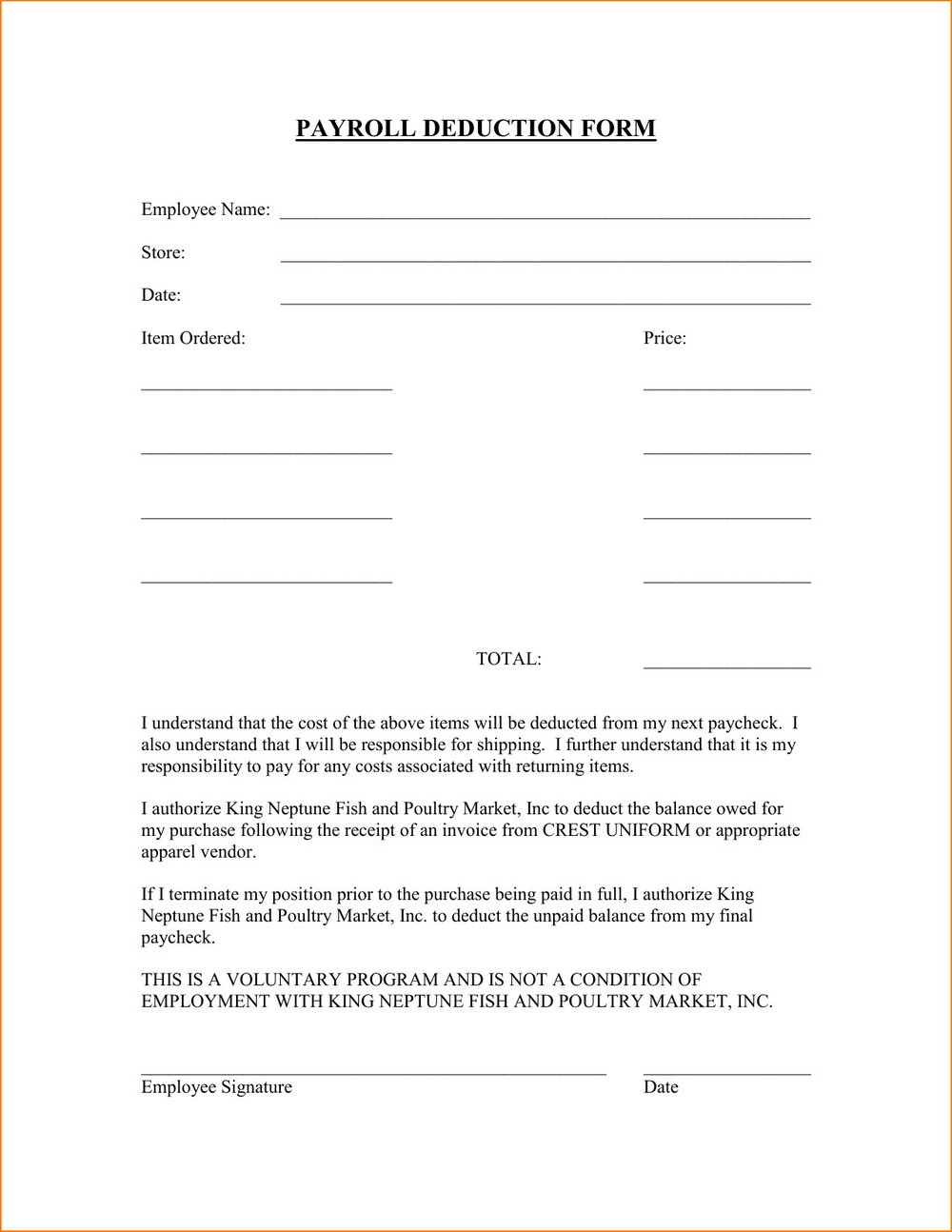 Payroll Deduction Authorization Form Template Free