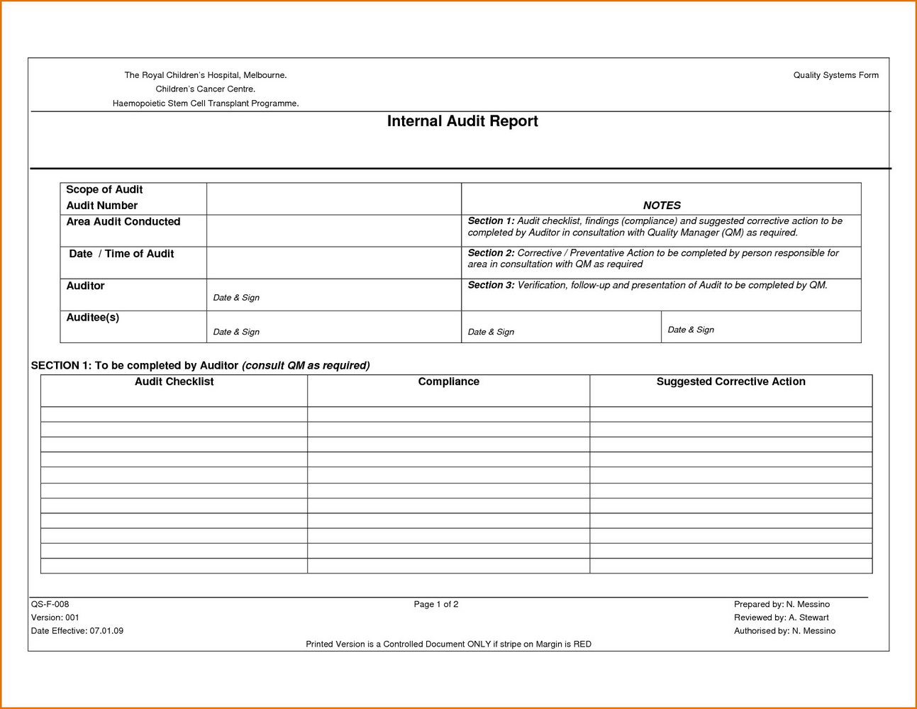 Policy Audit Template