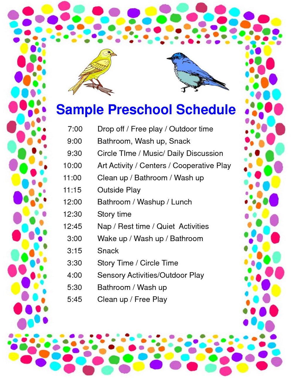 Preschool Schedule Template Free