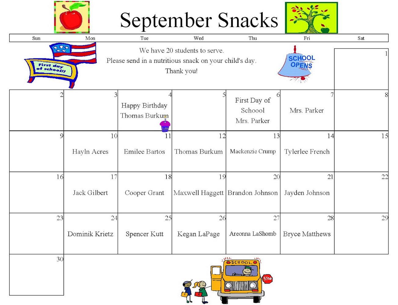 Preschool Snack Schedule Template