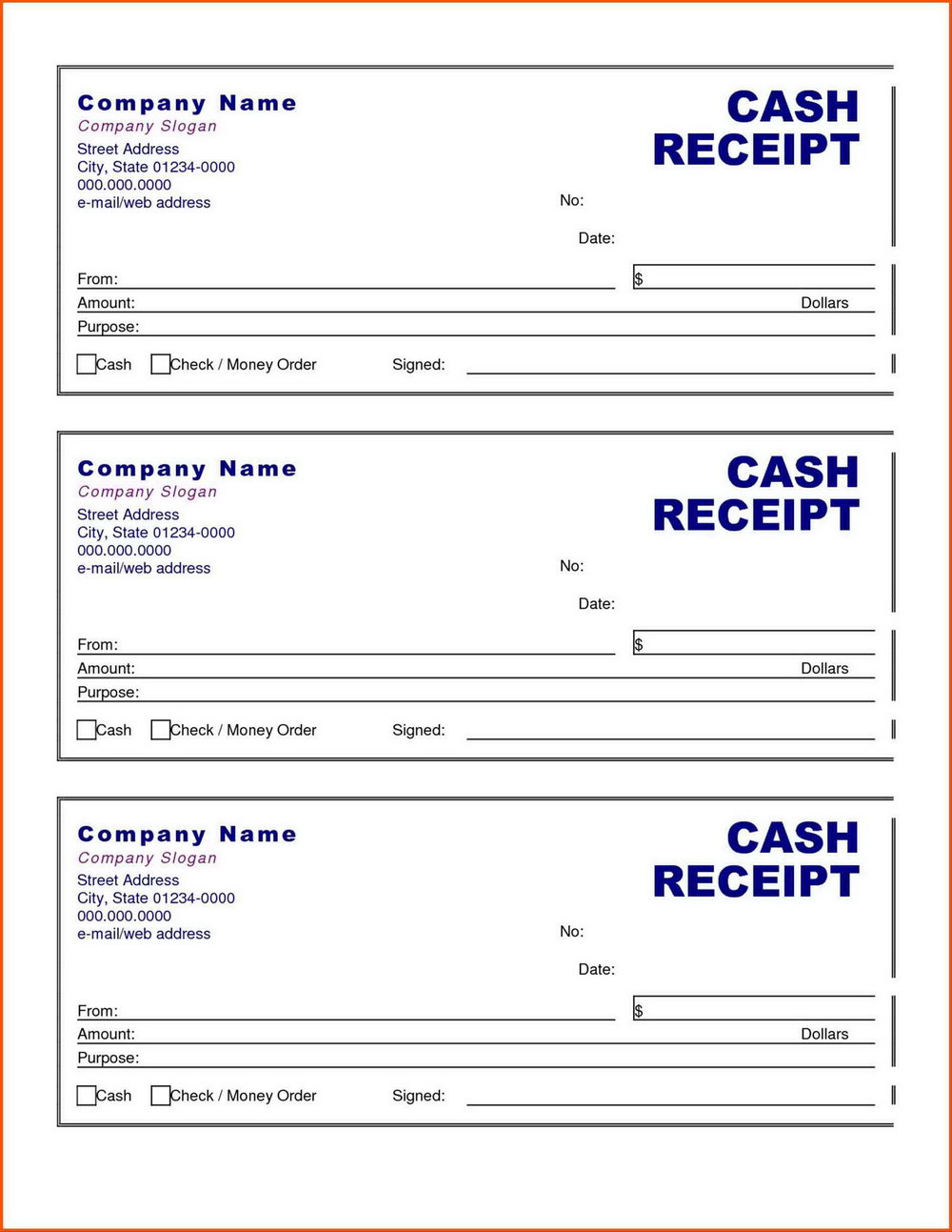 Printable Cash Receipt Template Free