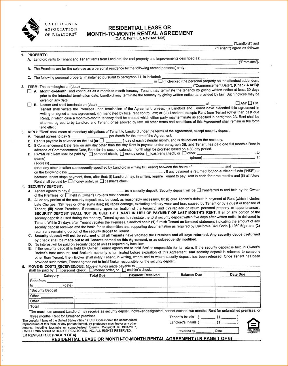 Rental Agreement Template California Month To Month
